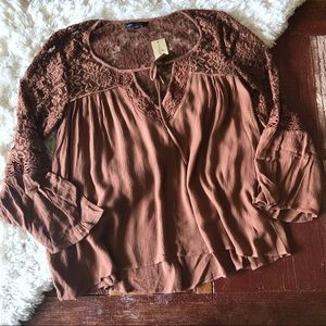 NWT | American Eagle | Lace Detail Bell Sleeve Top